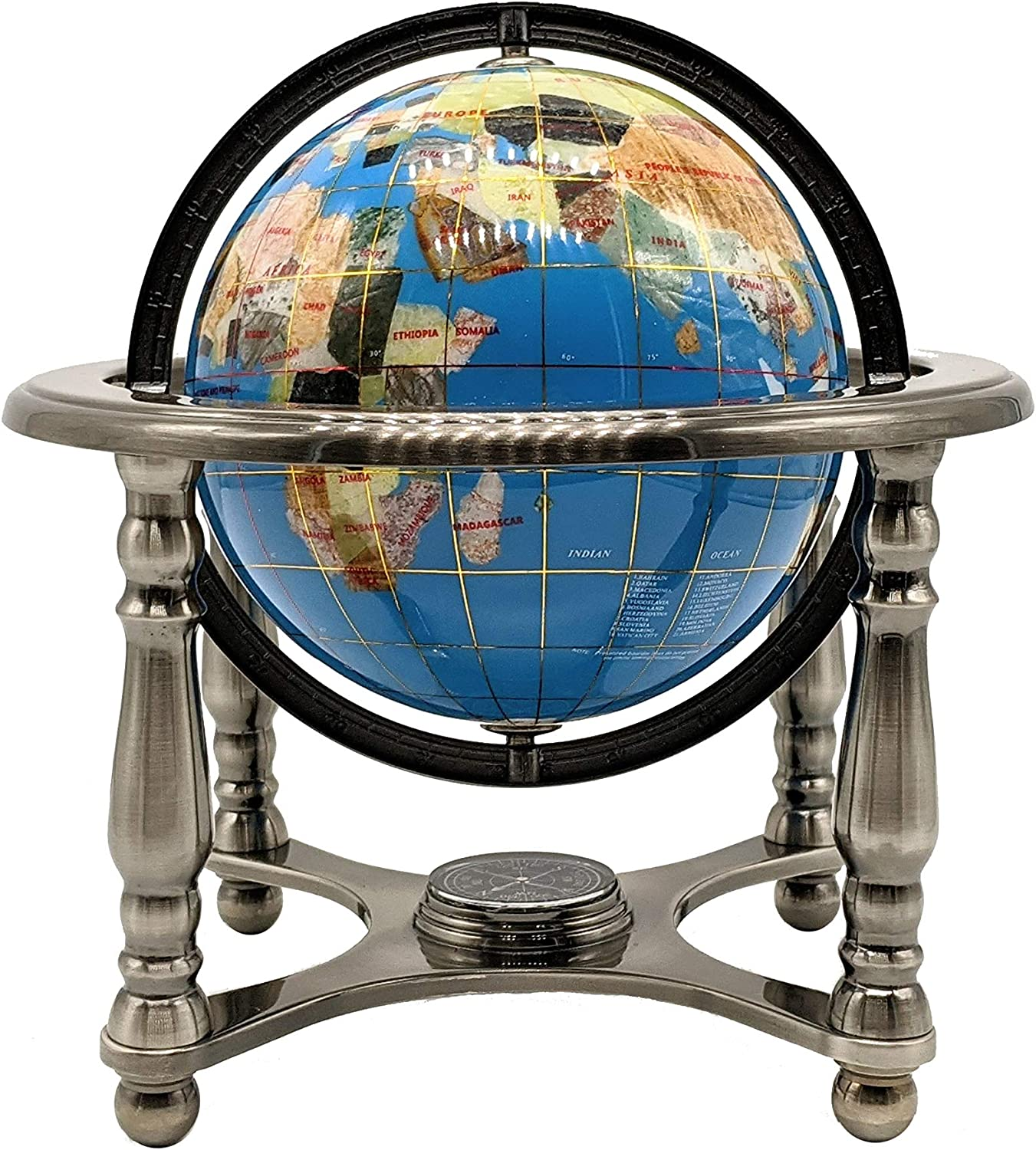 Unique Art 10-Inch Tall ! Super beauty product restock quality top! Turquoise wit Ocean 2021 autumn and winter new World Globe Gemstone