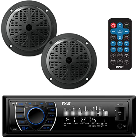 MP3//USB AM//FM Marine Stereo Bundle for Boat ATV UTV SPA Bluetooth Herdio Receiver//Speaker Package White