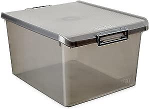 TATAY 1150014 - Caja de Almacenamiento Multiusos con Tapa, 35 l de Capacidad, Pl?stico Polipropileno Libre de BPA, Marr?n Transl?cido, 38 x 48 x 26 cm