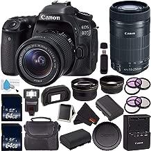 Canon EOS 80D DSLR Camera with 18-55mm Lens 1263C005 (International Version) + Canon EF-S 55-250mm Lens + 64GB SDXC Card + LP-E17 Replacement Lithium Ion Battery Bundle