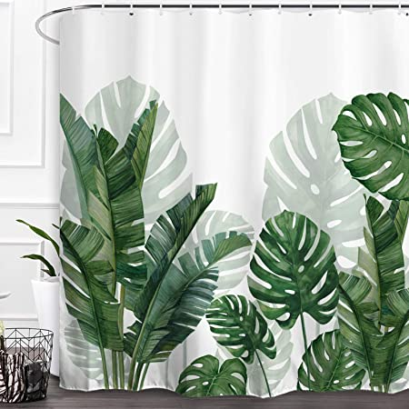 """Details about  /Deep Green Tropical Plant Leaves Painting Shower Curtain Set Bathroom Decor 72/"""""""