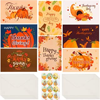olyee 16 Pcs Thanksgiving Cards with 16 Pcs Beautifully Envelopes and 24 Pcs Cute Stickers Funny Happy Thank You Greeting ...
