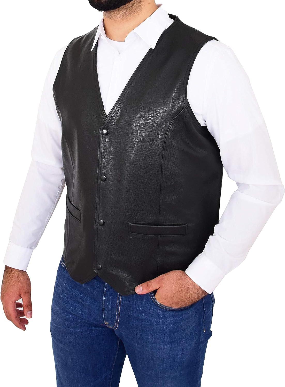 Mens Genuine Black Cowhide Waistcoat Classic Bikers Snap Button Leather Gilet Adolfo