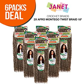MULTI PACK DEALS! Janet Collection Synthetic Hair Crochet Braids 2X Afro Montego Twist Braid 18