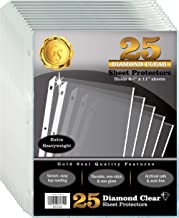 """25 Count Diamond Clear Extra Heavyweight Sheet Protectors, 4 mils Strong, by Gold Seal, 8.5 x 11"""", Top Load, 25 Pack"""