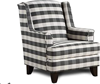 Brock Charcoal Black/White Block Plaid Accent Chair Grey Transitional Pattern Polyester Made to Order