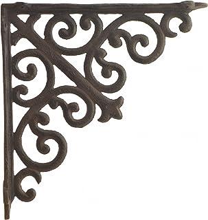 "Import Wholesales Cast Iron Wall Shelf Bracket Ornate Curl Pattern Rust Brown 10"" Deep"