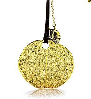 Amarjon BioJewel Yellow Gold-Plated 18k Brazilian Savanna Leaf Necklace In Leather Chain Handmade Bio Jewelry for Women, 1...