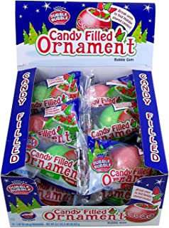 Dubble Bubble Christmas Candy Filled Giant Gumball Ornaments, Case of 12