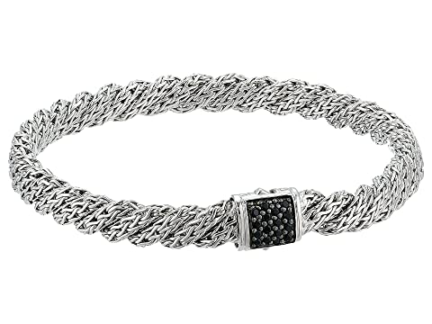 John Hardy Twist Chain Lava Flat Bracelet with Black Sapphire