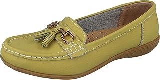Ladies Nautical Leather Smart Loafer Tassel Moccasin Flat Slip On Comfort Shoe Size 3-8