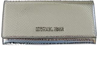 Michael Kors Jet Set Travel Multifunctional Carryall Snake Embossed Leather Wallet in Silver