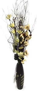 Twig Light Bouquet in Wood Vases With Artificial Flowers & Grasses & 5 stems LED Lights (Choc and cream, 95 cm)