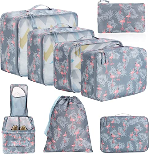 BAGAIL 8 Set Packing Cubes, Lightweight Travel Luggage Organizers with Shoe Bag, Toiletry Bag & Laundry Bag (Red Flam...