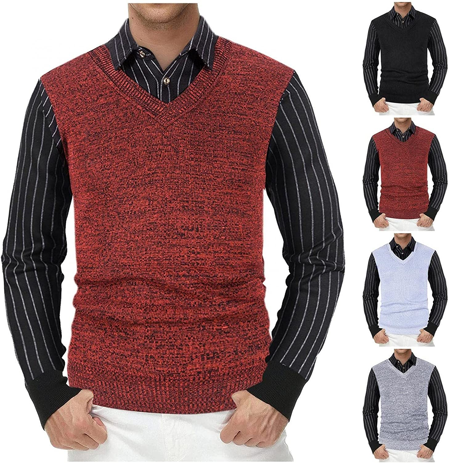 Men's Knitted Sweaters Casual Business Fake Two-Piece Shirts Casual Slim Fit V-Neck Pullover Sweatshirts Business Tops