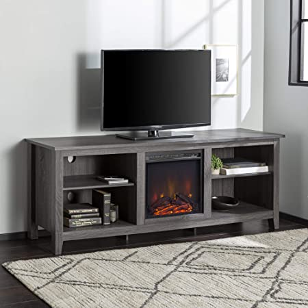 Walker Edison Wren Classic 4 Cubby Fireplace TV Stand for TVs up to 80 Inches, 70 Inch, Charcoal Grey