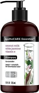 ApotheCARE Essentials The Mender Damaged Hair Repair Shampoo, Coconut Milk, White Jasmine, Vitamin E, 12 oz