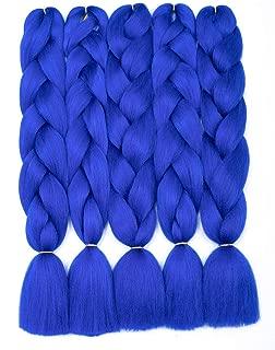 5 PCS/Lot Jumbo Braids Hair Extensions Blue Color 24 Inches 100g/pc Kanekalon Fiber for Twist Braiding Hair(5pcs,Blue)