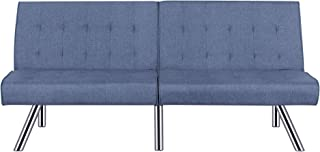 Container Furniture Direct Jayden Faux Leather Upholstered Modern Sleeper Sofa Bed, Ocean Blue