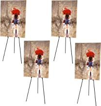 4 Pack, Easy Folding Easel, Heavy Duty Adjustable Telescopic Tripod, Portable Display Studio Easel, Collapsible Tripod Stand for Advertising, Sketching, Painting, Trade Show, Indoor-Outdoor