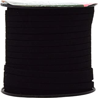 Mandala Crafts 50 Yards 5mm Wide Jewelry Making Flat Micro Fiber Lace Faux Suede Leather Cord (5mm, Black)