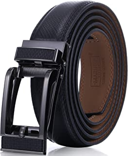 Marino Avenue Mens Genuine Leather Ratchet Dress Belt with Open Linxx Leather Buckle, Enclosed in an Elegant Gift Box