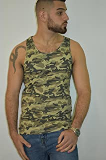 Men's Tank Top Sleeveless A-Shirt Vest, Size S, Camouflage Training Sports Everyday Wear for Men