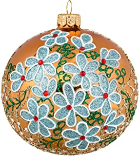 Miss Christmas Palace Collection 2019 Embellished Gold Ball with Blue Flowers 4-Inch Handmade Blown Glass Christmas Tree Ornament