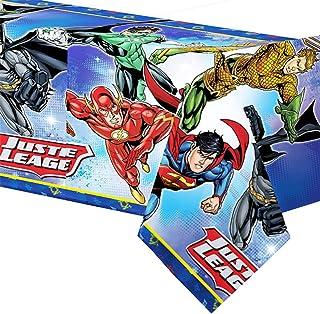 Boys Girls Birthday Party Tablecover Celebration Paper Tableware Decorations Justice League Batman Superman Aquaman Flash Green Lantern (Tablecover)