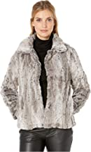 Dylan by True Grit Melange Textured Faux Fur Plush Jacket with Soft Knit Lining Heather/Brown SM