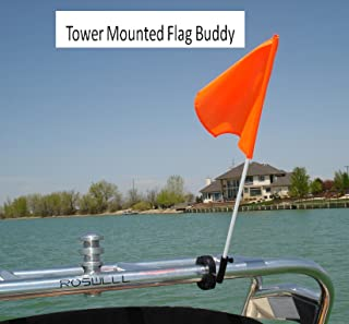 Flag Buddy Tower Mounted Rotating Skier Down Flag Holder with Free Floating Orange Safety Flag. Adjustable Tool Free Clamping