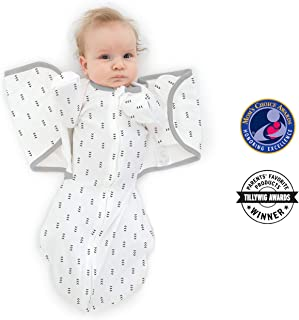 SwaddleDesigns Omni Swaddle Sack with Wrap and Arms Up Sleeves and Mitten Cuffs, Tiny Arrows, Soft Black, Small, 0-3 Months