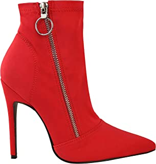 fcc2a7f63e Miss Image UK Mujeres Señoras del Alto Talón Zapatos de Tacón en Punta  Calcetín Ajustado Botines