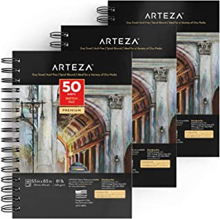 """Arteza Gray Sketch Pad 5.5x8.5"""", Pack of 3, 150 Sheets (81 lb/120gsm), Spiral Bound Artist Sketchbook, 50 Sheets Each, Durable Acid-Free Drawing Paper, Ideal for Kids & Adults"""