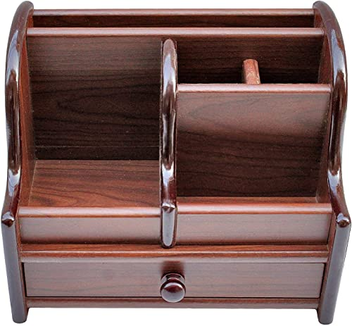 SHOPOBOX All in One Multipurpose Wooden Desk Organizer Big Size Polished Wooden Pen Stand with Drawer Mobile Holder Remote Stand for Office Desk Table Accessories