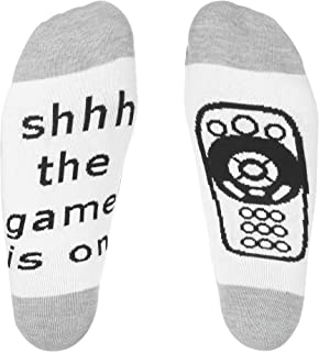 IF YOU CAN READ THIS Funny Saying Knitting Word Combed Cotton Crew Game is on Socks for Men Women
