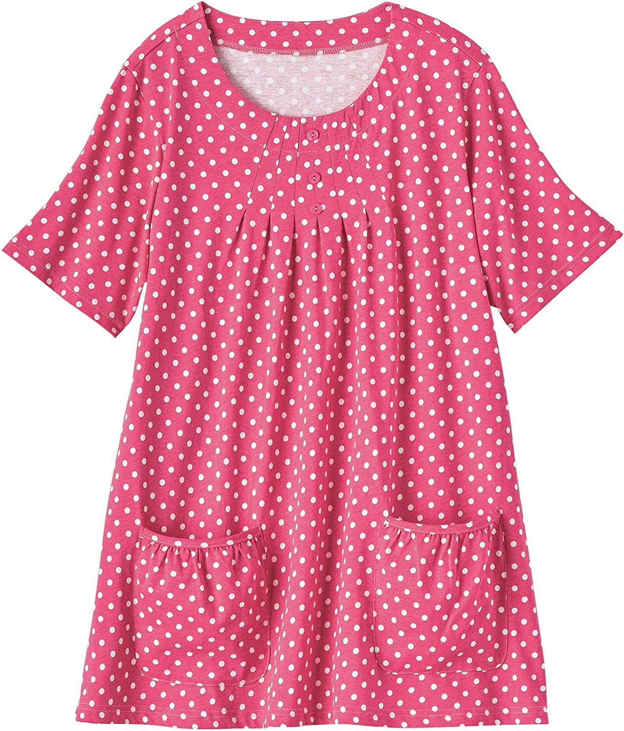 AmeriMark Women's Comfy Knit Tunic with Scoop Neck, Button Accents & Pleats