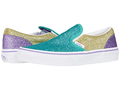 Vans Kids Classic Slip-On (Little Kid) ((Mermaid Glitter) Color-Block) Girls Shoes