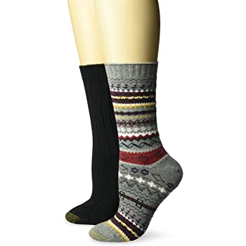 Gold Toe womens Fairisle Ribbed Crew Socks, 2 Pairs