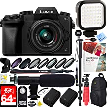 Panasonic LUMIX G7 Interchangeable Lens 4K Ultra HD Black DSLM Camera with 14-42mm Lens Bundle with 64GB Memory Card, Microphone, LED Light and Accessories (17 Items)