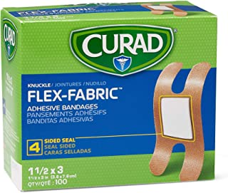 Curad Fabric Adhesive Knuckle Bandages, Finger Bandages for Knuckles (Pack of 100)
