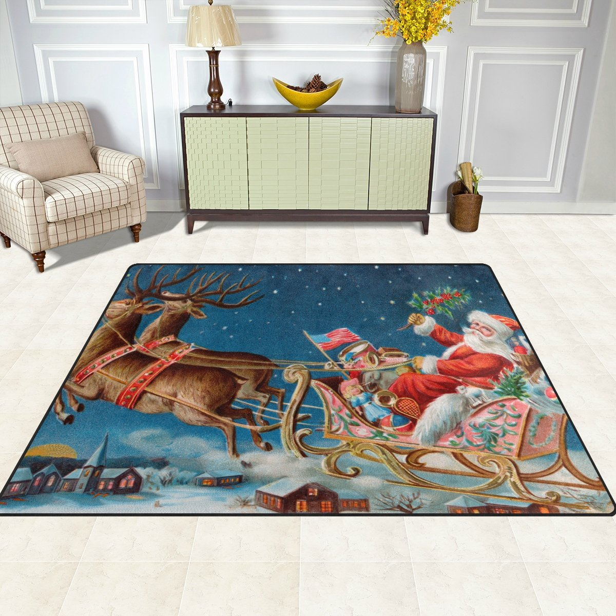 ALAZA Indoor Max 47% Max 89% OFF OFF Rug Merry Christmas with Reindee Clause Jolly Santa