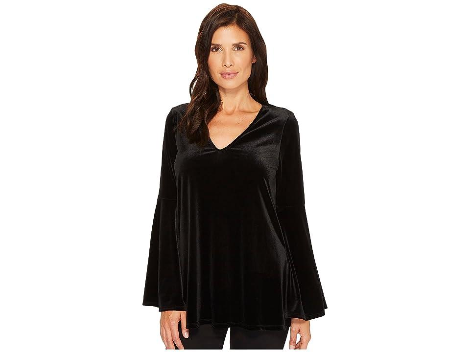 Karen Kane Velvet Bell Sleeve V-Neck Top (Black) Women