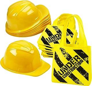 وسایل جشن تولد ساخت و ساز - (24 بسته) لوازم جانبی برای ساخت کیف و مینی کیف دستی - (12) کلاه های اسباب بازی زرد و (12) کیف های خوب