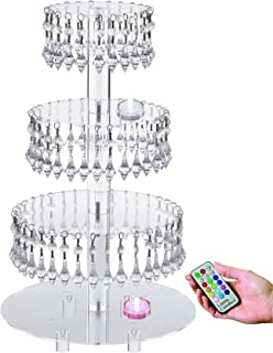 Pre-Installed Crystal Beads- 4 Tier Acrylic Cupcake Tower Stand with Hanging Crystal Bead-wedding Party Cake Tower (4 tier With Feet+LED Light)