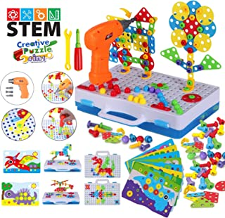 2020 Upgrade STEM Educational Toys for Kids, Electric Drill Puzzle Toy Set and Button Art Kit, 3D Construction Engineering...