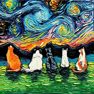 Cat Wall Art Print Starry Cats Artwork by Aja choose size and type of paper Van Gogh