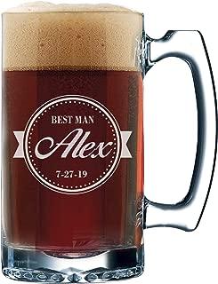 Groomsmen Beer Glasses - Engraved Personalized Custom Beer Mug Gifts - 12 oz (Baseball Style - 12 oz)
