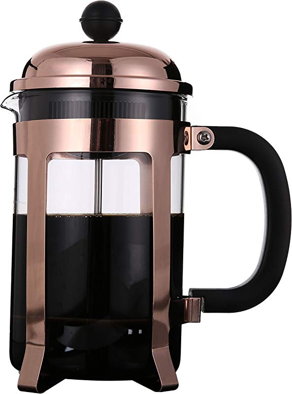 Rhysens Copper Plated Stainless Steel French Press Coffee And Tea Maker 8 Cup 4 Mug 1 Liter 34 Oz MODEL A