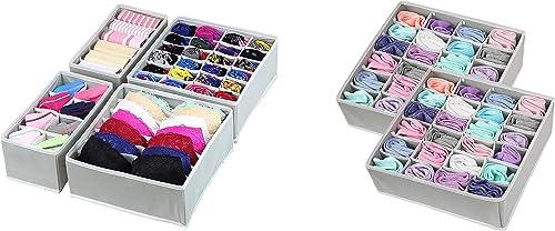 Simple Houseware Closet Underwear Organizer Drawer Divider 4 Set + 2-Pack Socks Organizer